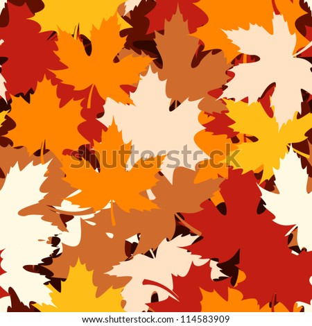Seamless pattern with autumn maple leaves. Vector illustration. - stock vector