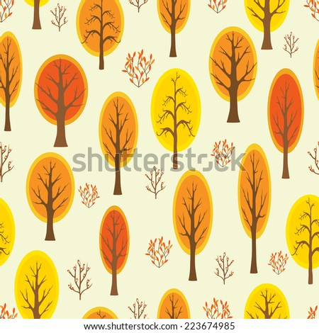 Seamless pattern with autumnal forest.Vector illustration.