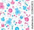 Seamless Pattern with Baby Shower - stock vector