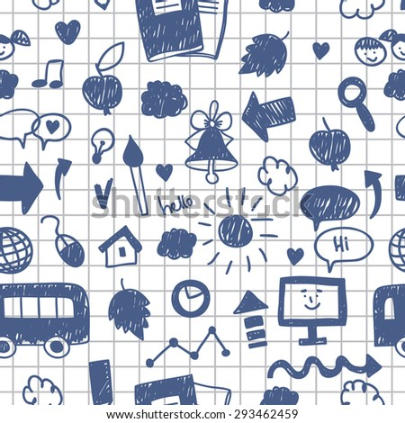 Seamless pattern with Back to school icon in doodle style