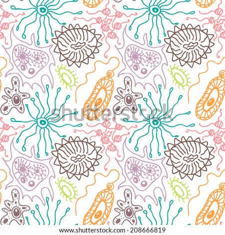 Seamless pattern with bacteria and viruses in a cartoon style, scientific background enlarged under the microscope - stock vector