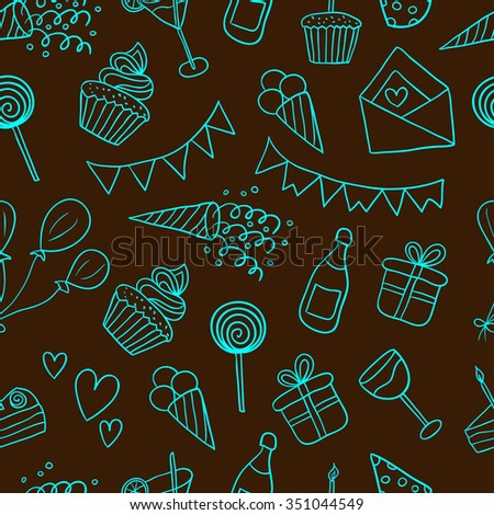 Seamless pattern with balloons, cakes, gifts, cupcakes, cocktails, ice cream. Happy birthday vector background - stock vector