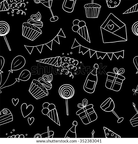 Seamless pattern with balloons, cakes, gifts, cupcakes, cocktails, ice cream. Happy birthday vector background. Black and white illustration - stock vector