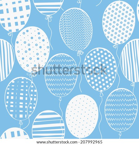 Seamless pattern with balloons.Hand-drawn background. - stock vector