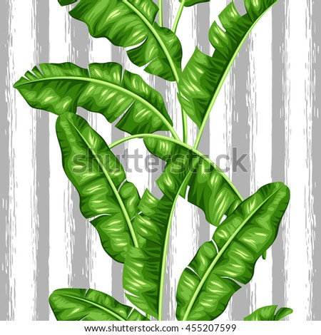 Seamless pattern with banana leaves. Image of decorative tropical foliage. - stock vector