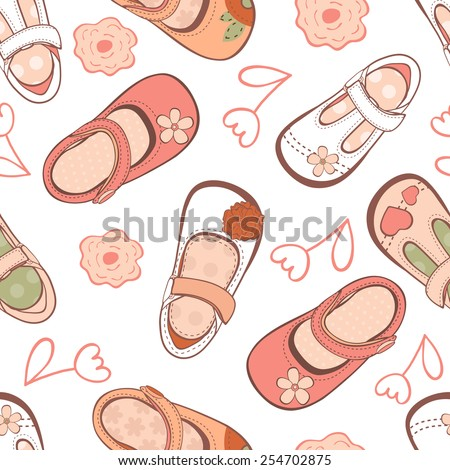 Seamless pattern with beautiful baby girl shoes in vector format - stock vector