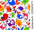 Seamless pattern with beautiful colorful birds - stock vector