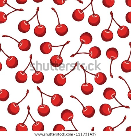 Seamless pattern with beautiful delicious cherries, bright berries. - stock vector