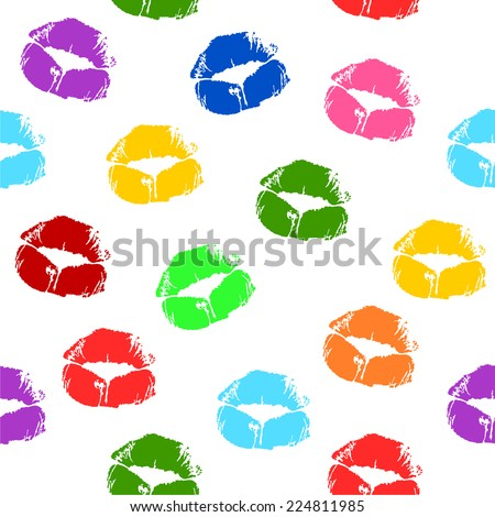 Seamless pattern with beautiful different colors print of lips. beauty colorful lipstick female lips kiss prints on white paper tissue. vector art image illustration, isolated on white background - stock vector