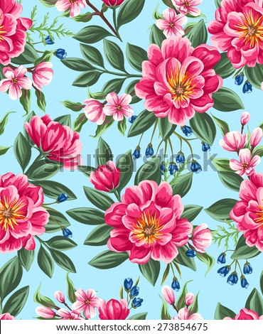 Seamless pattern with beautiful flowers in watercolor style - stock vector