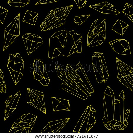 Seamless Pattern With Beautiful Gems Crystals Or Precious Stones Hand Drawn Yellow Contour Lines