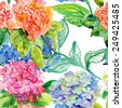 Seamless pattern with Beautiful Hydrangea blue flowers, watercolor illustration - stock vector