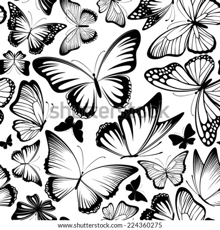 seamless pattern with beautiful lbutterflies silhouettes in black and white - stock vector