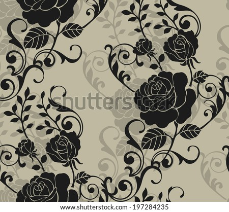 Seamless pattern with beautiful roses. Vector illustration. - stock vector