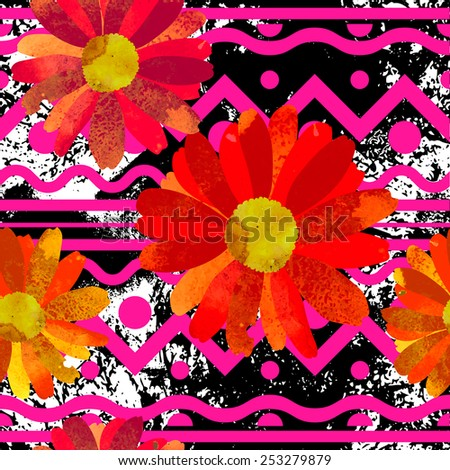 Seamless pattern with beautiful watercolor flowers.  Silhouette of a chamomile with fantastic stains. - stock vector
