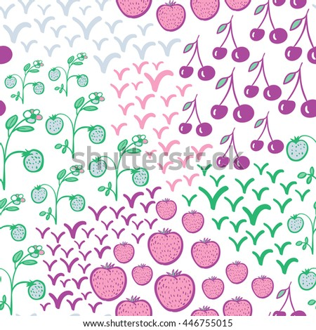 Seamless pattern with berries. Strawberry, cherry, flower and leaves elements. Summer motif. Bright colors. Usable for wrapping, textile.
