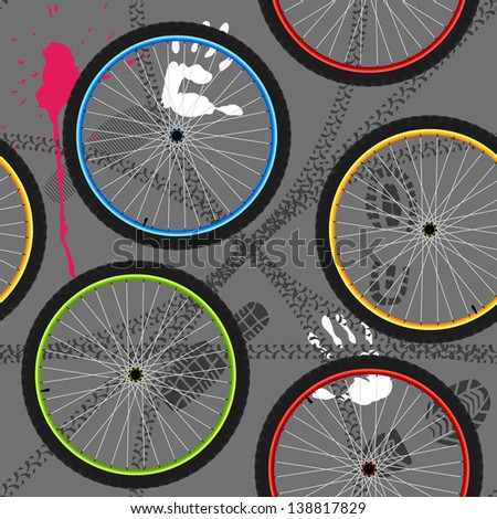 seamless pattern with bicycle wheels - stock vector