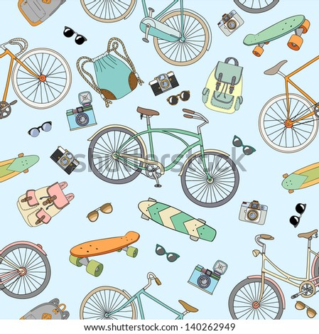 Seamless pattern with bicycles, boards and accessories - stock vector