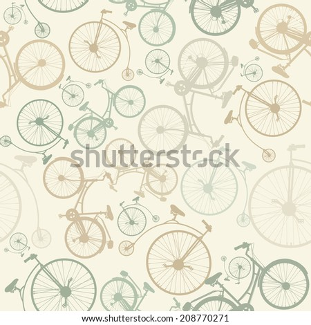 Seamless pattern with bicycles on beige background in vintage style. - stock vector