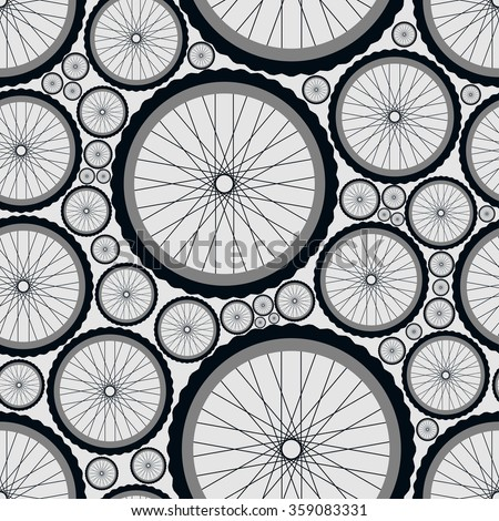 Seamless pattern with bike wheels. Bicycle wheels with tires, rims and spokes. Gray vector illustration.  - stock vector