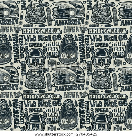 Seamless pattern with bikers,  skulls and and handwriting fonts. - stock vector