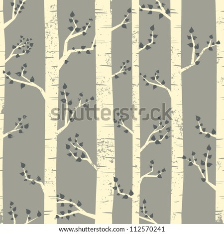 Seamless pattern with birch trees. Grunge texture easy to remove.