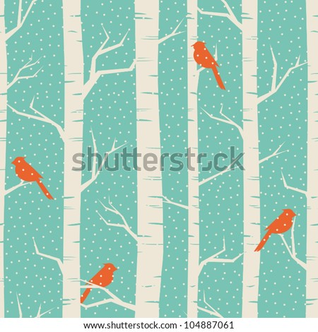 Seamless pattern with birches and birds in winter. - stock vector