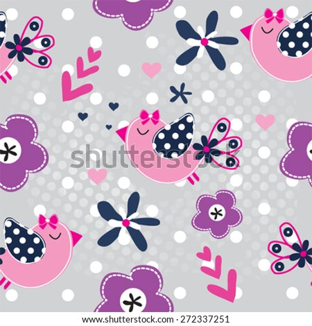 seamless pattern with bird and flowers vector illustration - stock vector
