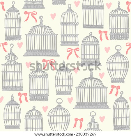 Seamless pattern with birdcages. - stock vector