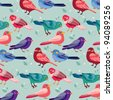 Seamless pattern with birds - stock vector