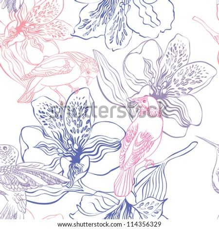 Seamless pattern with birds and flowers - stock vector