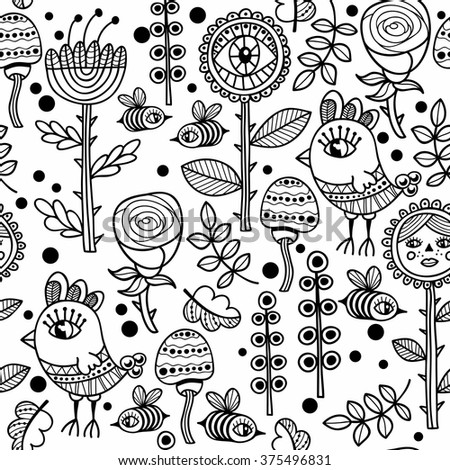 Seamless pattern with birds and flowers. Vector black and white  background for coloring.