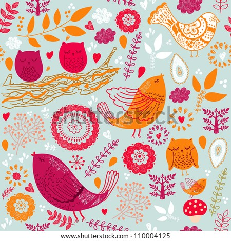 Seamless pattern with birds and leaves - stock vector
