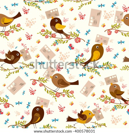 seamless pattern with birds and letters. postcrossing cheerful. mail birdies.