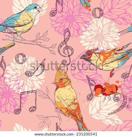 seamless pattern with birds, flowers and musical symbols - stock vector