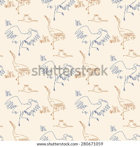 Seamless pattern with birds. Herons, sketch, draw by hand. Contour line. - stock vector