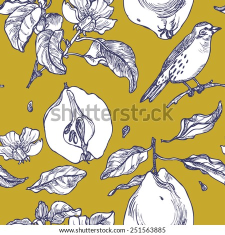 Seamless pattern with birds in a garden on yellow background in vector - stock vector