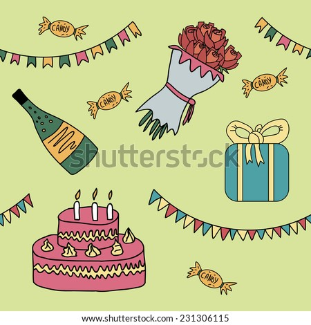 Seamless pattern with birthday set. Vector illustration in cartoon style with gift, garlands, champagne, candies, bouquet of roses, cake with candles - stock vector