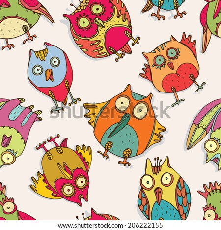 Seamless pattern with bizarre multicolor owls and birds - stock vector