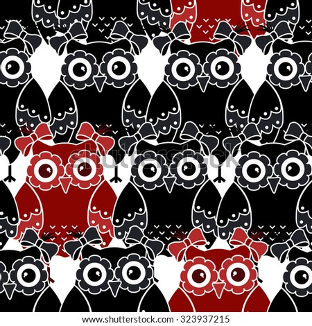 Seamless pattern with black and red owls - stock vector
