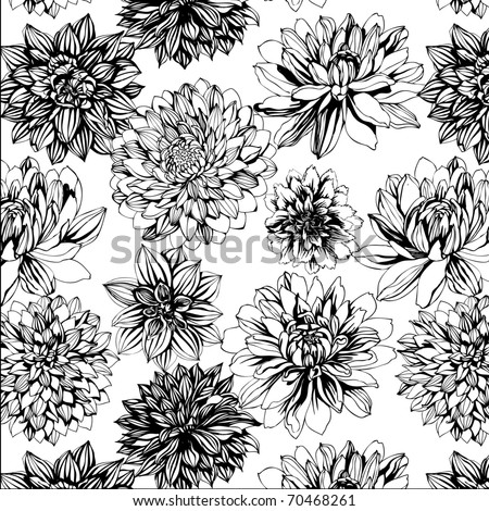 seamless pattern with black and white flowers - stock vector