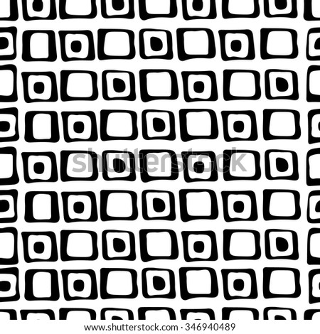 Seamless pattern with black and white hand drawn squares, empty and with dots, originally made with ink. vector illustration