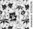 seamless pattern with black and white lilies - stock vector