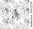 seamless pattern with black and white roses - stock vector