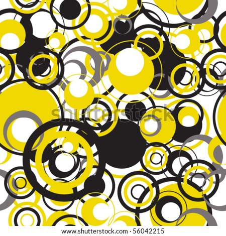 Seamless pattern with black and yellow circles - stock vector