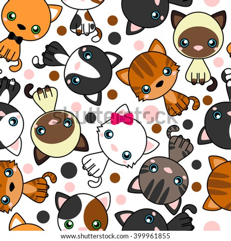 Seamless pattern with  black cat, white cat, grey cat, grey and white cat, brown and black act, brown cat. Vector Illustration Cartoon - stock vector