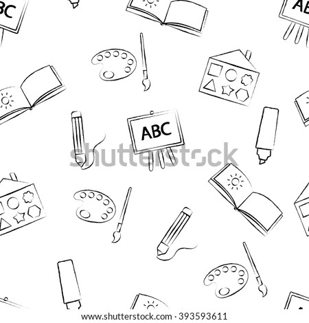 Seamless pattern with black crayon children's drawings on white background. Hand-drawn style. Seamless vector wallpaper with the image of colors, brushes, album and other school items - stock vector