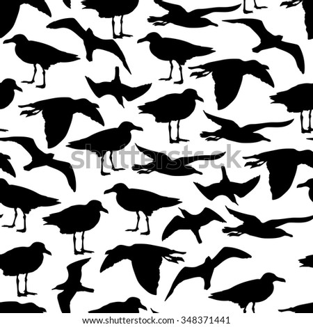Seamless pattern with black seagulls. Vector illustration