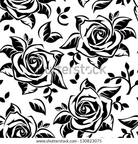 Seamless pattern with black silhouettes of roses. Vector illustration. - stock vector