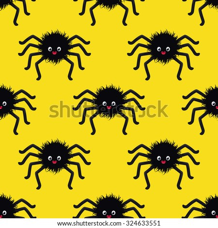 Seamless pattern with black spiders for Halloween - stock vector